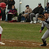 Amesbury: Amesbury's John Tassinari heads back to first on a steal attempt before Triton's Mike Speicher makes the catch. Photo by Bryan Eaton/Newburyport News  Tuesday April 7, 2009.