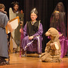 "Amesbury: Devin Lund, seated, plays Hades, the God of the Underworld, in a skit at Amesbury on Thursday.  The students held their ""Greek Day"" with many activities ending with a great feast. Photo by Bryan Eaton/Newburyport News  Thursday April 16, 2009."