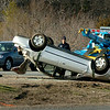 Newbury:<br /> This rollover on Interstate 95 southbound, a half mile before the Scotland Road exit in Newbury backed up traffic late yesterday afternoon.<br /> Photo by Bryan Eaton/Newburyport Daily News Thursday, April 16, 2009