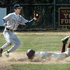 Newburyport:<br /> Face in the dirt, Newburyport's Tyler Stotz squeaks by Triton second baseman Mike Cerbone to steal the base yesterday in Newburport.<br /> Photo by Bryan Eaton/Newburyport Daily News Friday, April 10, 2009
