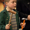 Salisbury:<br /> Justin Mulcahy, 8, portrays steel-driving legend of folklore John Henry in one of three plays students in Deb Dennehy's class put on for parents on Tuesday morning. Each play had a theme, fairy tale, tall tale and biography and were, respectively, Sly Fox, John Henry and Harriet Tubman.<br /> Photo by Bryan Eaton/Newburyport Daily News Tuesday, April 07, 2009