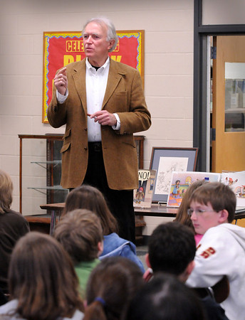 Newburyport:<br /> Author-illustrator David McPhail of Newburyport spoke to students at the Molin School about his profession on Thursday hoping to promote awareness about reading. His is one of two honorees being noted at this April's annual Newburyport Literary Festival.<br /> Photo by Bryan Eaton/Newburyport Daily News Wednesday, April 22, 2009
