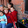 Newburyport:<br /> Danielle Gallagher with her four children, clockwise from front, Mariah, 2, Devyne, 9, Shaelyn, 7, and Bruce, 3.<br /> Photo by Bryan Eaton/Newburyport Daily News Wednesday, April 22, 2009