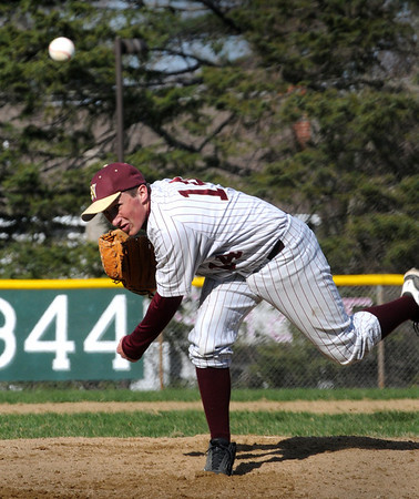 Amesbury:<br /> Newburyport's Ryan O'Connor pitches against Amesbury on Tuesday.<br /> Photo by Bryan Eaton/Newburyport Daily News Tuesday, April 14, 2009