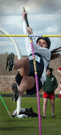 Byfield: Triton's Ashley Matthews shoot skyward during the pole vault during yesterday's track meet at the school. Photo by Bryan Eaton/ Newburyport  Daily  News Thursday, April 23, 2009.