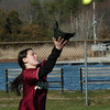 Newburyport:<br /> Newburyport centerfielder Eleni Kacher catches the first of two pop-ups in a row in action yesterday against Amesbury.<br /> Photo by Bryan Eaton/Newburyport Daily News Wednesday, April 15, 2009