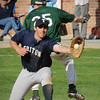West Newbury: The throw comes late for Triton first baseman Mike Speicher allowing Pentucket's John Gavin the run. Bryan Eaton/Staff Photo  Newburyport News  Wednesday April 29, 2009.