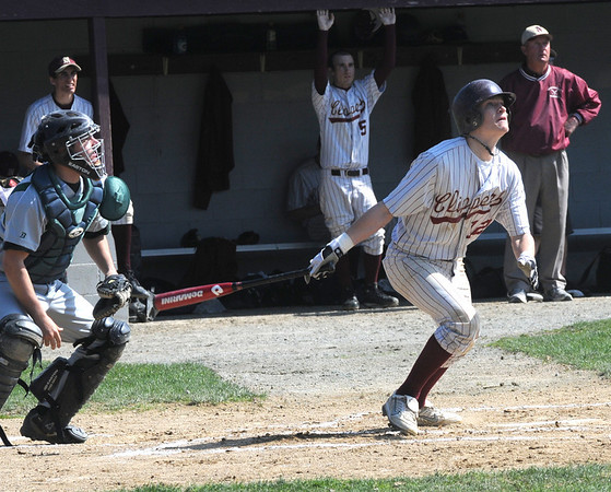 Newburyport: Newburyport's Tyler Stotz watches as his home run sails over the right field fence during teh Clippers game Saturday against Manchester Essex at the Lower Field in Newburyport. Jim Vaiknoras/Staff photo