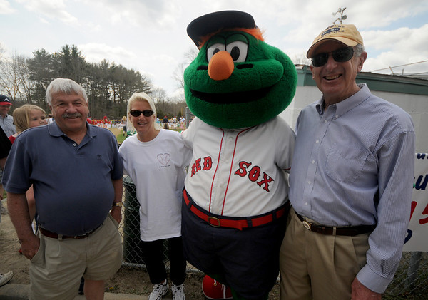 Byfield; The Newbury selectmen with Wally the Green Monster at the Byfield/Newbury Little League Opening Ceremonies. This year marks the begining of the town's affiliation with Little League.Jim Vaiknoras/Staff photo