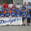 Byfield; The Dodgers lead the Byfield/Newbury Little League Parade through Byfield Center Sunday morning. This year marks the begining of the town's affiliation with Little League.Jim Vaiknoras/Staff photo