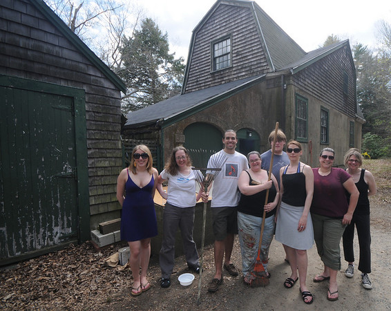 Newburyport: Teddy Specks, Beth Randall, holding racks, pose with other members of the Theater in the Open at the Gate House in Maudslay State Park in Newburyport. Jim Vaiknoras/Staff photo