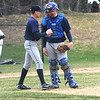 Lynnfield: Triton pitcher Bryan Walsh talks with catcher Andrew Fecteau during their game at Lynnfield Saturday. Jim Vaiknoras/Staff photo