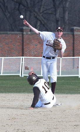 Haverhill: Newburyport's Ben Tyler tries to turn a double play at Haverhill Sunday afternoon.Jim Vaiknoras/Staff photo