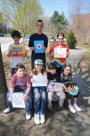 "Amesbury: Winners of the ""What does nutrition mean to you?"" Health and Wellness art contest, which was for students in every schoolFront from the left:Jacob Blumsack,Mariana Sanborn,Zach Davis,Renee Vachon, back Matt Clifford, Jonathan Tederd and Katie Barry. Jim Vaiknoras/Staff photo"