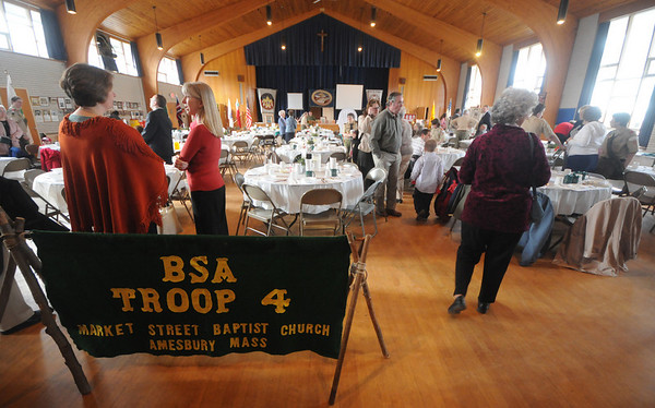 Amesbury People gather at the  Troop 4 50th anniversary celebration at St Joseph's Hall in Amesbury Saturday night. Jim Vaiknoras/Staff photo