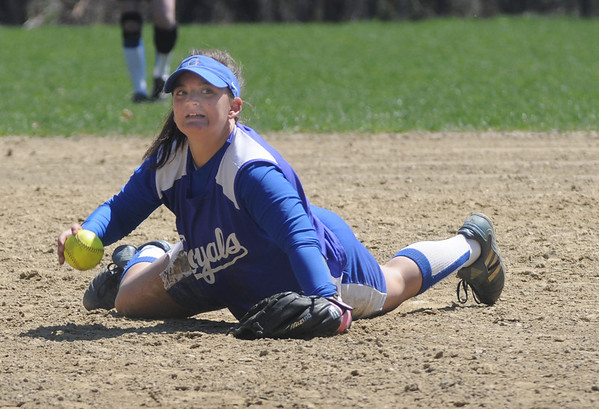 Georgetown:Georgetown's Kassie Barba tries to make a play from the ground during the Royal's game at home agianst Triton.Jim Vaiknoras/Staff photo