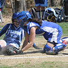 Georgetown:Georgetown's Melanie Prior  tags out Triton's Gail Lebrun at the plate during the Royal's game at home agianst Triton.Jim Vaiknoras/Staff photo