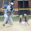 Georgetown: Newburyport High's Tyler Stotz steals 2nd just under the tag of Georgetown's Anthony Cote during their game at Georgetown Saturday. Jim Vaiknoras/staff photo