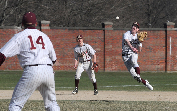 Haverhill: Newburyport's Joe Clancey tosse sthe ball to first for an out against the Hillies at Haverhill Sunday .Jim Vaiknoras/Staff photo