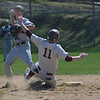 Newburyport:Manchester's Max Houce tries to turn a double play as Newburyport's Joe Clancey is out at second during the Clippers game against Manchester Essex Saturdat at the Lower Field in Newburyport. Jim Vaiknoras/staff photo