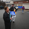 Amesbury:Sumner Delaney and Jeannine Perley  hand out information about the Employee Free Choice Act in the parking lot at the Rite -Aid in Amesbury.Jim Vaiknoras/Staff photo