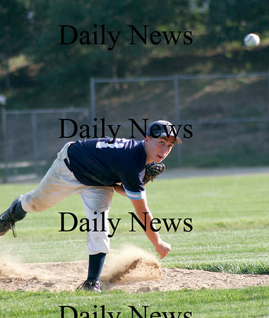 Plaistow: Jedd Hutchins of Triton delivers a pitch during Tuesday's game against Timberlane in Plaistown. Photo by Ben Laing/Staff Photo
