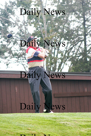 Haverhill: Chairman of the 2009 Anna Jaques Golf Outing at Haverhill Country Club, Byron Matthews, tees off on the first hole Monday afternoon. Photo by Ben Laing/Staff Photo