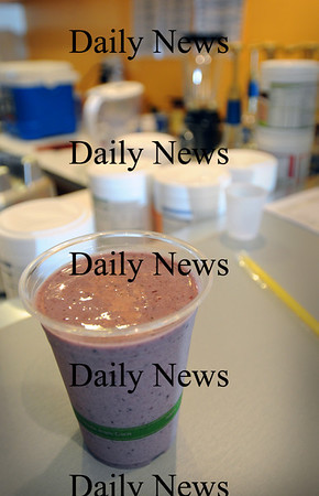 Newburyport: A black forest cherry shake made at The Shake Station, which opened in May on Unicorn Street offering healthy shakes. Bryan Eaton/Staff Photo Newburyport News  Friday August 7, 2009.