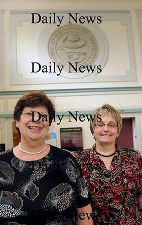 West Newbury: Retired West Newbury town accountant Susan Yaskell, left, with her successor Eileen Deveau. Bryan Eaton/Staff Photo Newburyport News  Thursday August 13, 2009.