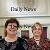 West Newbury: Retired West Newbury town accountant Susan Yaskell, left, with her successor Eileen Deveau. Bryan Eaton/Staff Photo Newburyport News  Thursday August 13, 2009.