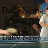 Salisbury: Regan Harding, 11, evades an errant  ping pong ball while playing Ryan Foley, 12, both of Amesbury. The two were at the Boys and Girls Club on Monday afternoon. Bryan Eaton/Staff Photo Newburyport News Monday August 17, 2009.