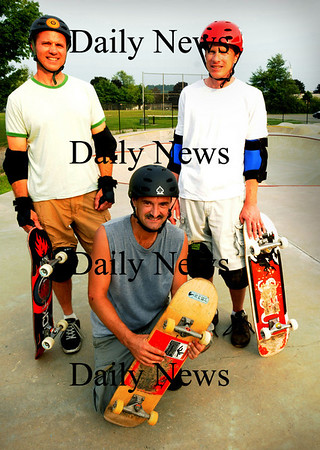 Newburyport: Three of the Geezers of New England (G.O.N.E.) were on hand last night at the Newburyport Skateboard Park. From left, Steve Forcucci of Winchester; Paul Tuzzio of Enfield, Conn. and Chip Jone of Woburn. Bryan Eaton/Staff Photo Newburyport News Wednesday August 5, 2005.