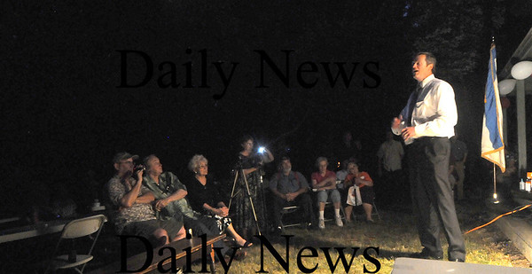 West Newbury: Gudernatorial candidate Charlie Baker speaks at the Republican Town Commitee Picnic at Mill Pond in West Newbury Thursday Night. Jim Vaiknoras/Staff photo