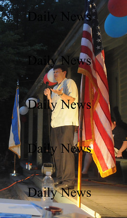 West Newbury: Gudernatorial candidate Gerry Dembrowski speaks at the Republican Town Commitee Picnic at Mill Pond in West Newbury Thursday Night. Jim Vaiknoras/Staff photo