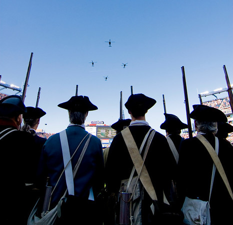 Foxboro: A quartet of Blackhawk helicopters fly over Gillette Stadium Sunday afternoon during the pregame ceremonies. The Patriots honored the men and women of the military for the upcoming Veteran's Day holiday. Photo by Ben Laing/Staff Photo