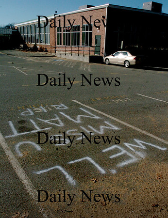 West Newbury: Student parking spot 185 at Pentucket High School was spray-painted with a memorial to the school's hockey co-captain Matt McCarthy who died at the end of hockey practice at the Haverhill Rink on Tuesday night. Bryan Eaton/Staff Photo