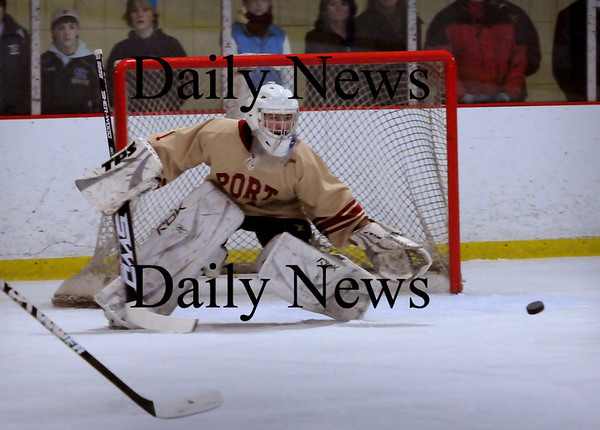 Newburyport: Newburyport goalie Anthony Frederica makes a save against Triton. Bryan Eaton/Staff Photo