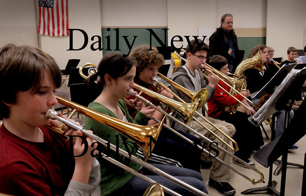 Newburyport: Local musician Danny Harrington has been donating his time to help with the Nock Middle School's Jazz Band. Bryan Eaton/Staff Photo