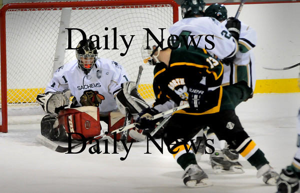 Haverhill: Pentucket goalie Mike Mueskes makes a save on a North Reading shot Thursday afternoon at the Haverhill Rink. Bryan Eaton/Staff Photo
