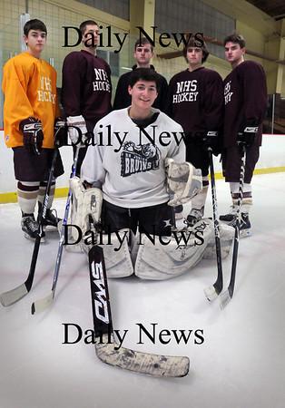 Newburyport: Newburyport High hockey starters, clockwise from front, goalie Anthony Frederico, Ryan Cutter, Derek Freeman, Billy Boudreau, Gaven LaValley and Kyle McElroy. Bryan Eaton/Staff Photo