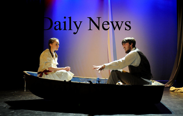 """Newburyport: Madeleine Moore as Winnie Foster, left, and Owen Williams as Angus Tuck in a scene about immortality in rehearsal for the Newburyport High School play """"Tuck Everlasting."""" Bryan Eaton/Staff Photo"""