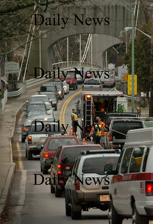Amesbury: Traffic is back to one lane of travel as some more work on the Hines Memorial Bridge begins. Bryan Eaton/Staff Photo