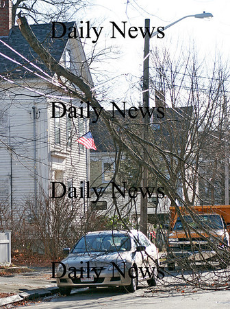 Newburyport: A downed tree limb rests on the elctrical lines on Parsons Street in Newburyport Thursday, after the area was battered with high winds all day. Photo by Ben Laing/Staff Photo