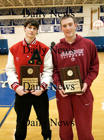 Georgetown: River Rivals Basketball Festival All-Tournament team winners, Tyler Lay of Amesbury, and Nick Welch of Newburyport. Photo by Ben Laing/Staff Photo