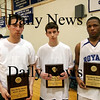 Georgetown: River Rivals Basketball Festival All-Tournament team winners, Nolan Dragon of Pentucket, left, Corey McNamara of Pentucket, center, and Neph Carmona of Georgetown. Photo by Ben Laing/Staff Photo