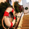 Newburyport: The Maritime Museum at the Customs House in Newburyport is holding their annual Christmas wreath silent auction this week, with bidding running through Saturday. Photo by Ben Laing/Staff Photo