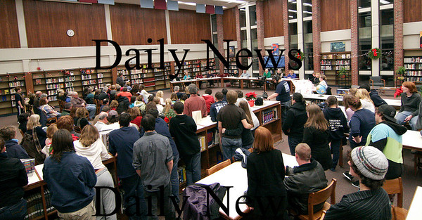 Byfield: A large number of students and parents gathered in the library at Triton Regional High School for Tuesday night's School Committee meeting. Photo by Ben Laing/Staff Photo
