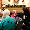 "Newburyport: Mayor-elect Donna Holladay, right, speaks with a group of seniors at the Atrium Merrimack Place in Newburyport Wednesday afternoon. The seniors invited the soon to be mayor to their daily ""pub time"". Photo by Ben Laing/Staff Photo"