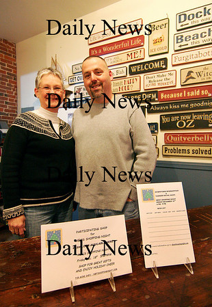 Newburyport: Diane Gronbeck of the Brass Lyon, and Kevin Riley of the Partrige in a Bear Tree, are bringing a Men's Night Out to local downtown stores on Friday the 18th. Photo by Ben Laing/Staff Photo