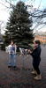 Newburyport: Maria Ichizana of Rowley and Rachael Comunale of Ipswich entertain people in Market Square in Newburyport Friday with Christmas and Chanukah music. Jim Vaiknoras/Staff photo